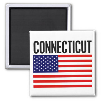 Connecticut, Stars and Stripes Square Magnet