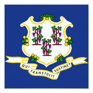 Connecticut State Flag 13 Cm X 13 Cm Square Invitation Card