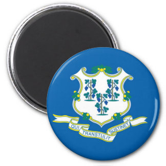Connecticut State Flag 6 Cm Round Magnet