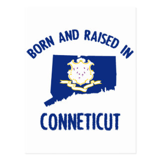Connecticut state flag and map designs postcard