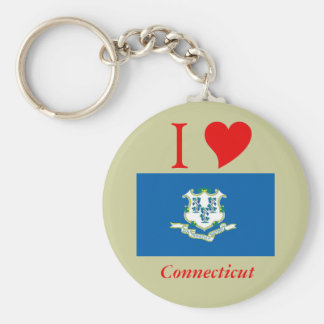 Connecticut State Flag Basic Round Button Key Ring