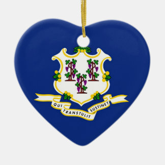 Connecticut State Flag Ceramic Heart Decoration