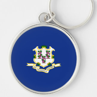 Connecticut State Flag Design Silver-Colored Round Key Ring