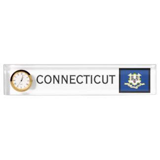 Connecticut State Flag Desk Clock by Janz Desk Name Plates