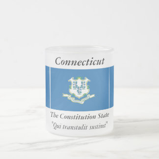 Connecticut State Flag Frosted Glass Coffee Mug