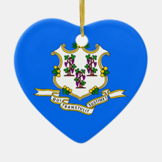 CONNECTICUT STATE FLAG HEART ORNAMENT