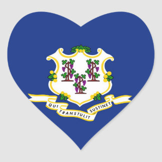 Connecticut State Flag Heart Sticker