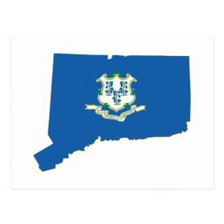Connecticut State Flag Map Postcard