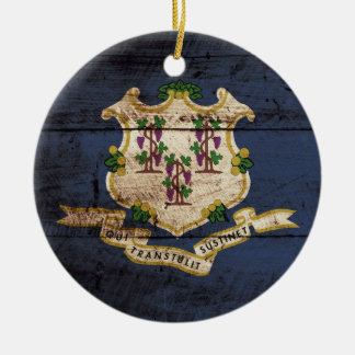 Connecticut State Flag on Old Wood Grain Christmas Ornament