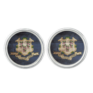 Connecticut State Flag on Old Wood Grain Cuff Links
