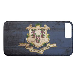 Connecticut State Flag on Old Wood Grain iPhone 7 Plus Case