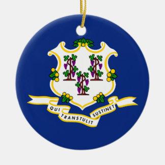 Connecticut State Flag Round Ceramic Decoration