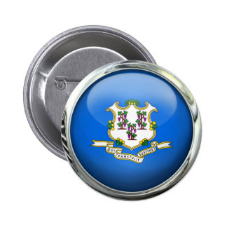 Connecticut State Flag Round Glass Ball 6 Cm Round Badge