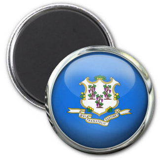 Connecticut State Flag Round Glass Ball Magnet