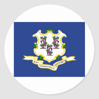 Connecticut State Flag Round Stickers