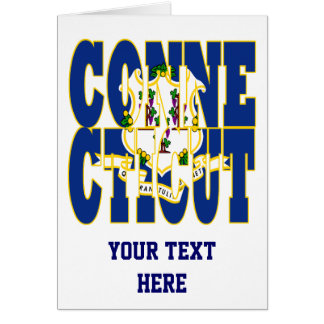 Connecticut state flag text greeting card