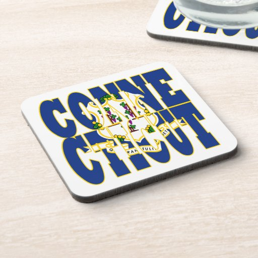 Connecticut state flag text beverage coaster