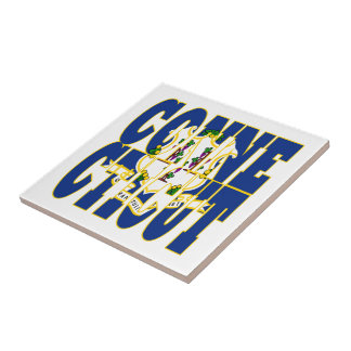 Connecticut state flag text ceramic tile
