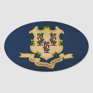 Connecticut State Flag VINTAGE.png Oval Sticker