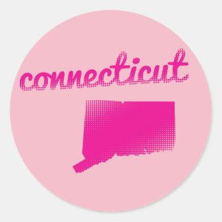 Connecticut state in pink round sticker