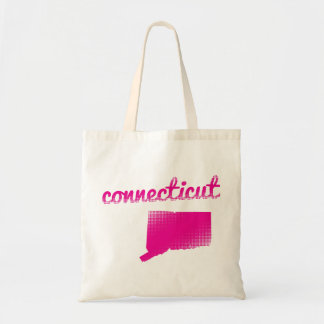 Connecticut state in pink tote bag