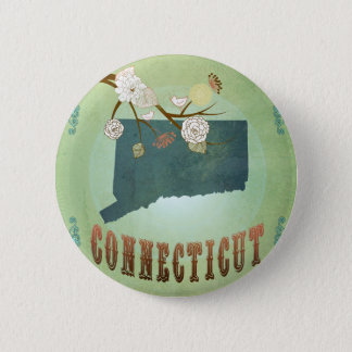 Connecticut State Map – Green 6 Cm Round Badge