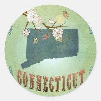 Connecticut State Map – Green Round Sticker