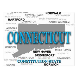Connecticut State Pride Map Silhouette Postcard