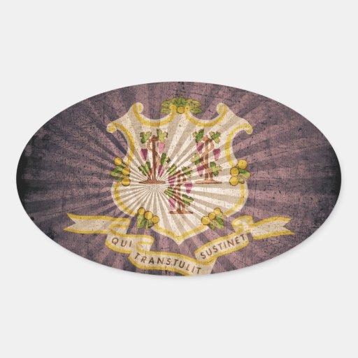 Connecticut sunburst flag souvenir oval sticker