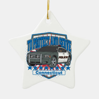 Connecticut To Protect and Serve Police Car Ceramic Star Decoration