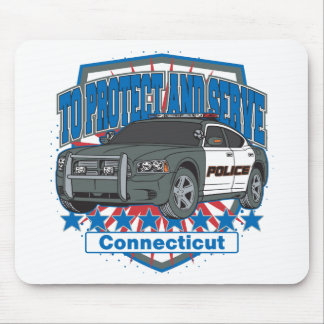 Connecticut To Protect and Serve Police Car Mouse Mat