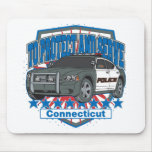 Connecticut To Protect and Serve Police Car Mousepads