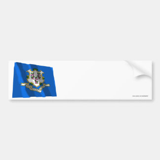Connecticut Waving Flag Bumper Sticker