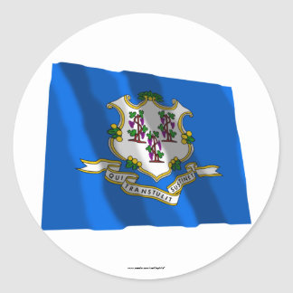 Connecticut Waving Flag Round Stickers