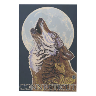 ConnecticutHowling Wolf Wood Wall Art