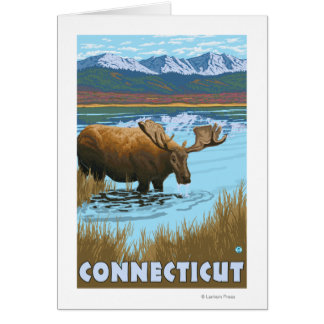 ConnecticutMoose Drinking in Lake Card