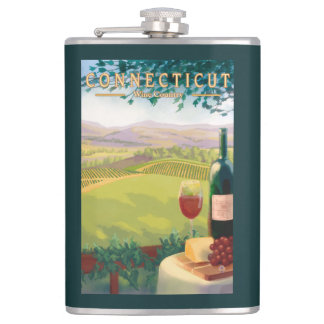 ConnecticutWine Country Scene Hip Flask