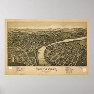Connellsville Pennsylvania 1897 Antique Panorama Poster