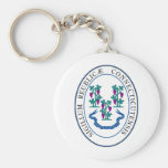 Conneticut State Seal and Motto Basic Round Button Key Ring