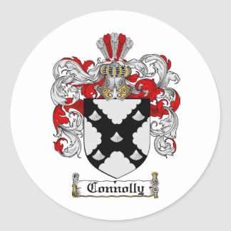 CONNOLLY FAMILY CREST -  CONNOLLY COAT OF ARMS ROUND STICKER
