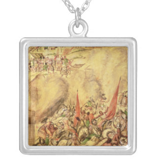 Conquest of Mexico: the Spaniards retreating Silver Plated Necklace