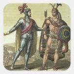Conquistador with a Native American Chief (colour Square Sticker