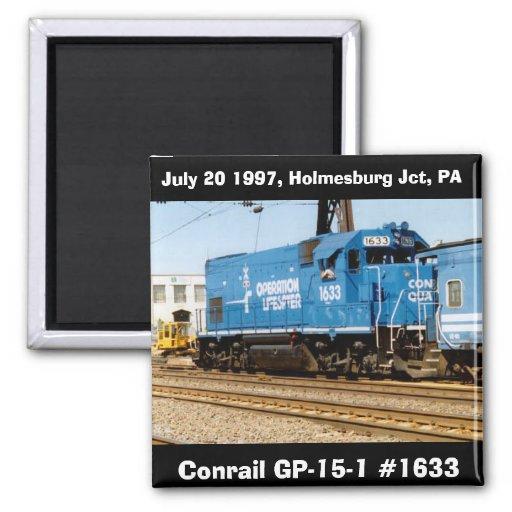 Conrail GP-15-1 #1633 at Holmesburg Jct. PA. Fridge Magnets