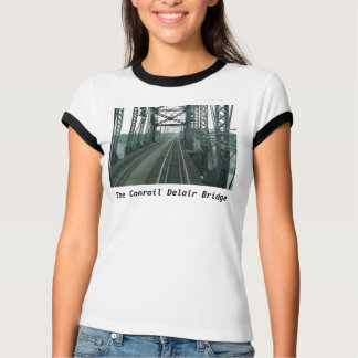 Conrail (PRR) Delair Railroad Bridge Ladies Ringer T-Shirt