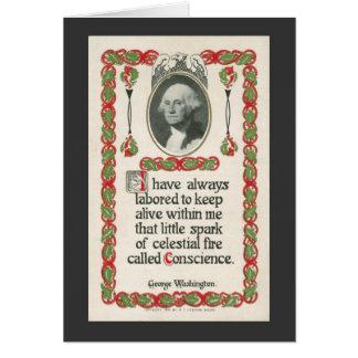 Conscience by George Washington-Black Border Greeting Card