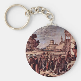 Consecration Of St. Stephen By Carpaccio Vittore Basic Round Button Key Ring