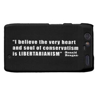 Conservative Libertarian Quote by President Reagan Motorola Droid RAZR Case