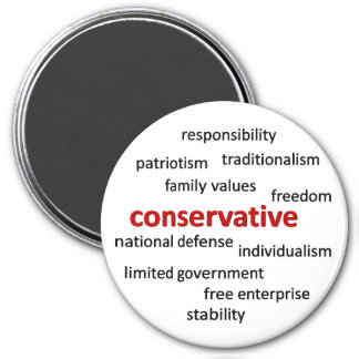 Conservative philosophy and values 7.5 cm round magnet