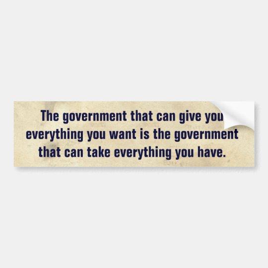 Conservative Quote Political Reminder Bumper Sticker