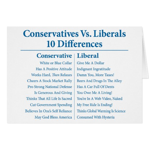 Conservatives Vs. Liberals 10 Differences Card